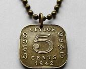 1945 Ceylon 5 Cents coin pendant Sri Lankan Sinhalese Colombo decorative emblem square golden World War 2 necklace jewelry n001002