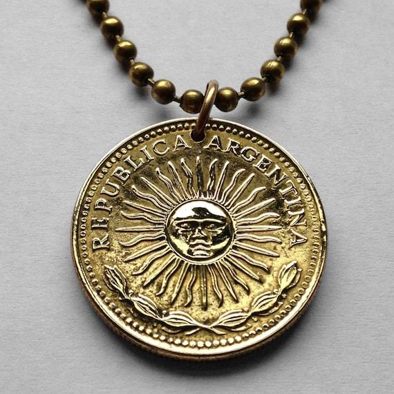 1976 Argentina Peso Coin Pendant Sol De Mayo Buenos Aires Mar Etsy