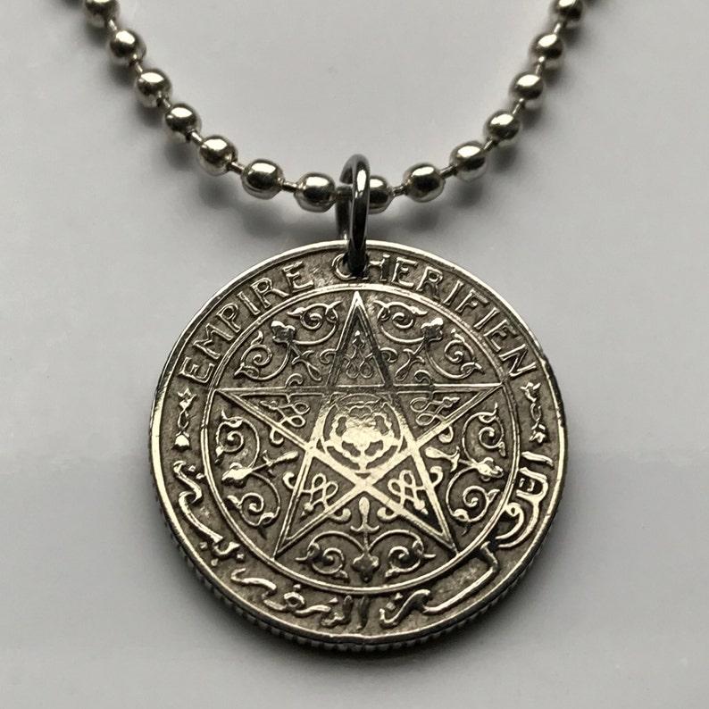 1921 Morocco 50 Centime coin pendant Moroccan pentagram star Maroc 5  pointed Arabic Islamic Maghrebis Abjad Moors Berber amulet n001402