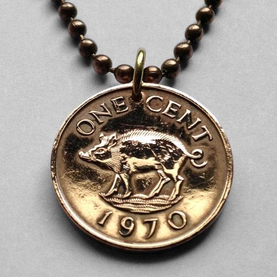 Bermuda 1976-1 Cent Bronze Coin Wild boar Queen Elizabeth II
