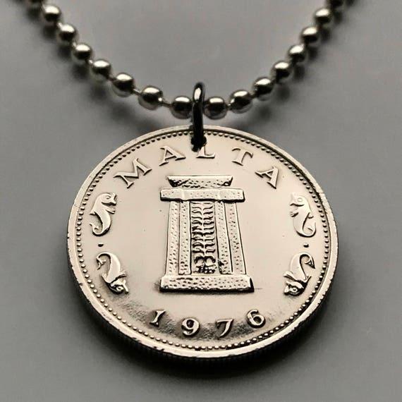 1976 Ruinen Malta 5 Cent Münze Anhänger Hagar Qim