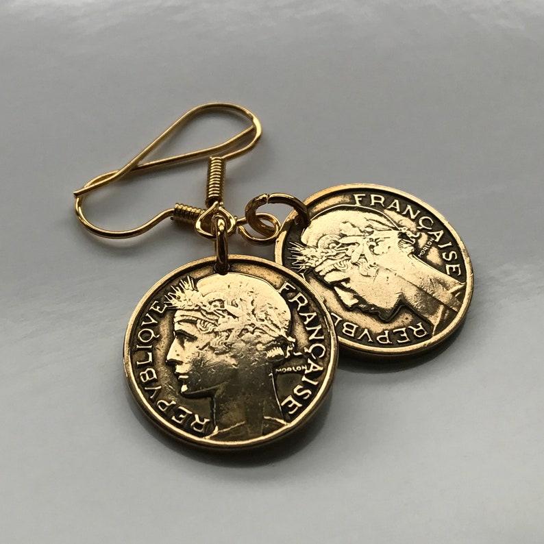 1939 France 50 Centimes coin earrings French Marianne Paris Lille Rennes Reims Saint-\u00c9tienne Le Havre Toulon Dijon Louvre WWII e000030