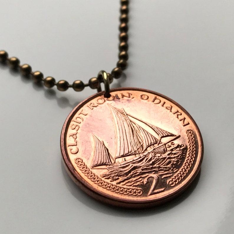 2002 Isle of Man 2 Pence coin pendant Manx Lugger fishing boat sailing Doolish Michael Ayre Garff Peel UK British Isle Goidelic Mann n003221