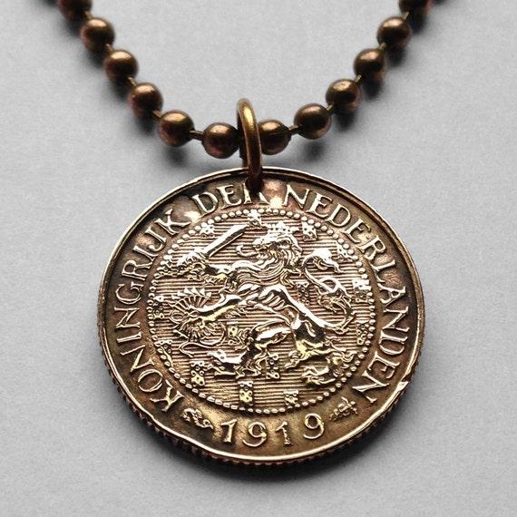1913 Bis 1931 Niederlande 1 Cent Münze Anhänger Etsy