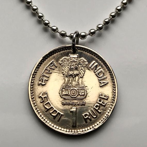 1989 Indien 1 Rupie Münze Anhänger Löwe Hauptstadt Von Ashoka Etsy