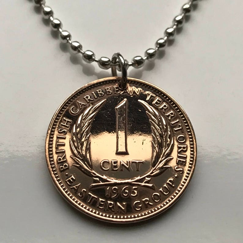 1965 East Caribbean 1 Cent coin pendant palm tree Lesser Antilles Caribbees  Leeward British Virgin Windward Islands British necklace n002362