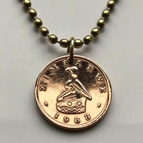 1983 Simbabwe 1 Cent Münze Anhänger Stein Geschnitzt Große Etsy