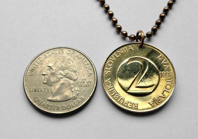 1995 Slovenia Slovenija 2 Tolarja Barn Swallow bird Ljubljana coin pendant Velenje Novo Mesto Lake Bled Postojna Ptuj Cave Planica n000653