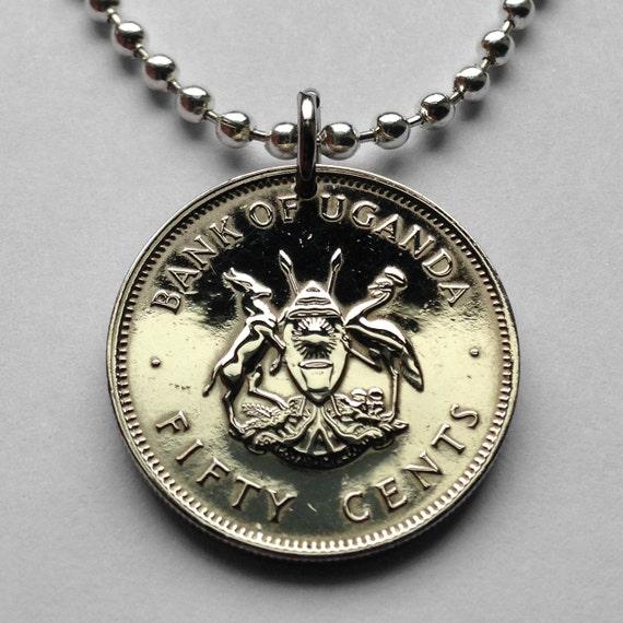 1966 Uganda 50 Cent Münze Anhänger Ugandische Kob Crested Kran Etsy