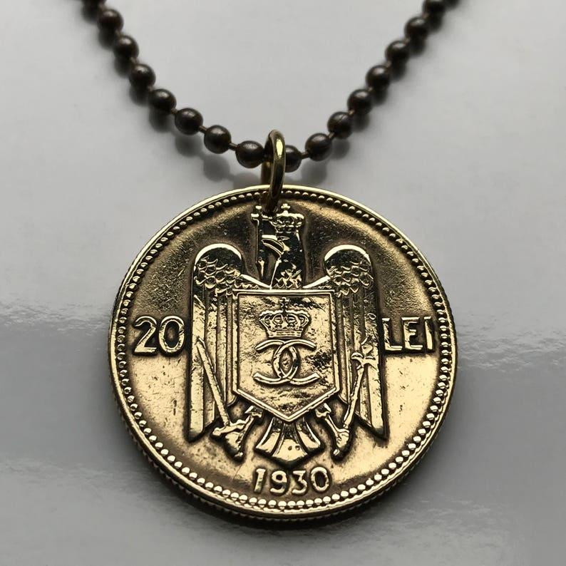 Calendario Rumeno.1930 Romania 20 Lei Moneta Ciondolo Aquila Rumeno Bucarest Balcani Acciaio Corona Moldavia Valacchia Transilvania Collana N002381