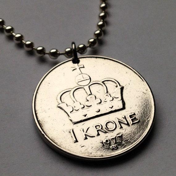 1982 Norwegen Krone Münze Anhänger Norwegischen Norge Krone Etsy