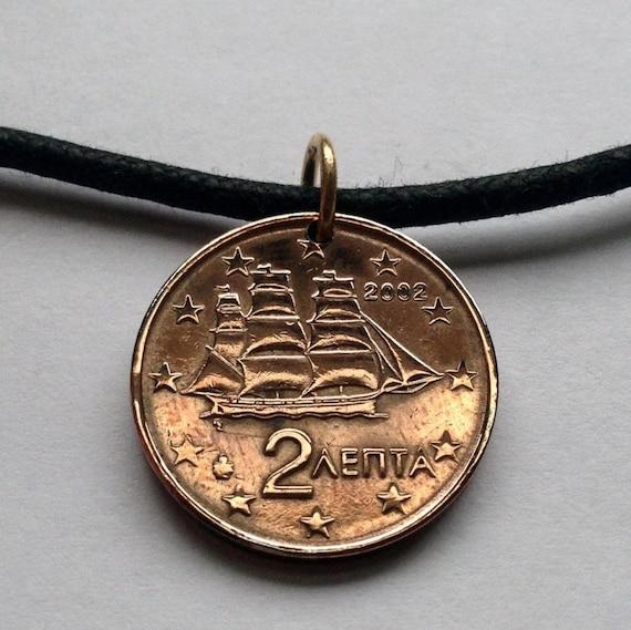 2002 Griechenland 2 Euro Cent Münze Anhänger Hellas Etsy