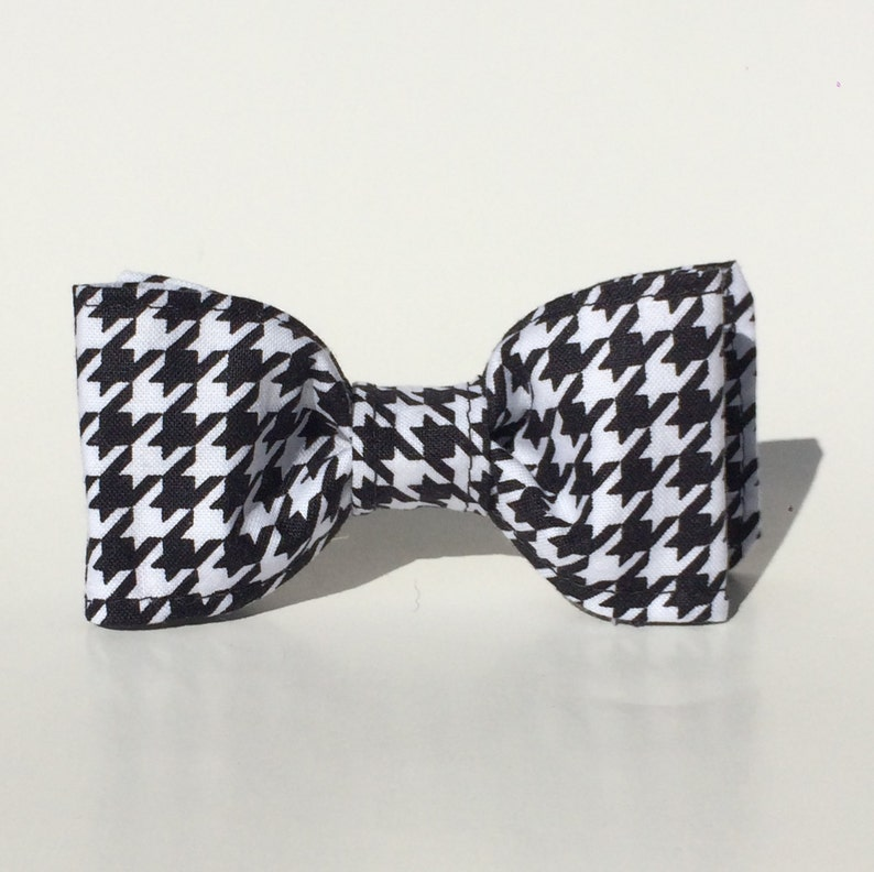 Dog Bow Tie Houndstooth Bow Tie Black and White Bow Tie image 0