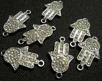 925 Sterling Silver Platinum Women Jewelry Bridal Wedding Blue Larimar Cabochon Hamsa Fatima Hand Khamsa Hamesh Halo Adjustable Necklace