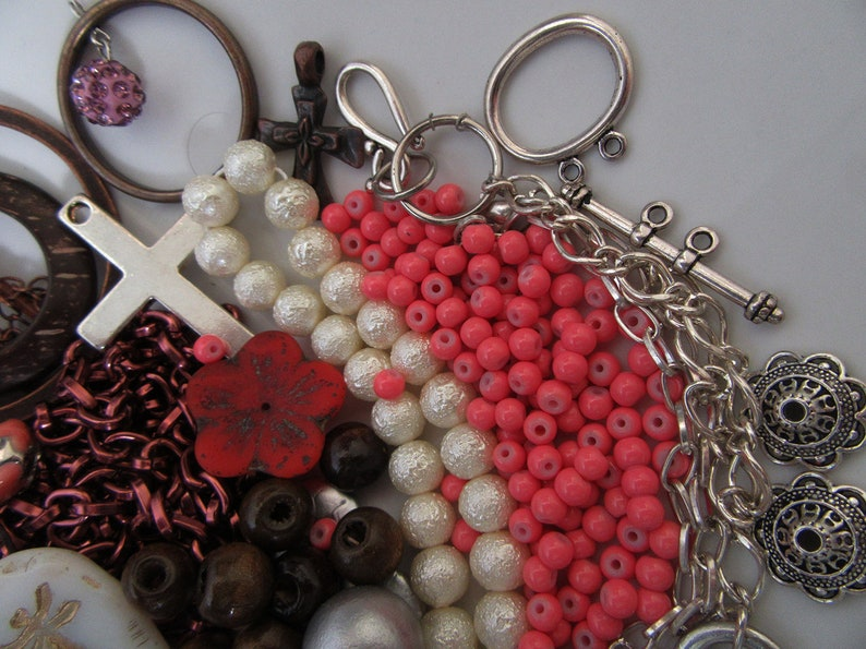 Creative Mix Lot of Pendants Leather Thread Chain Findings Beads Charms Glass Gemstone Wood Metal Red Pink Silver Brown
