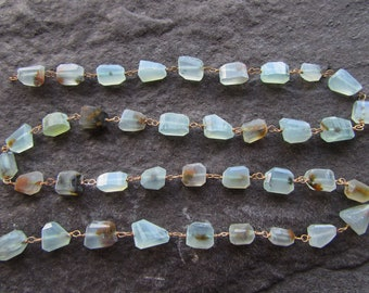 12 Inch Aqua Chalcedony Wire Wrapped Laser Cut Gemstone Beads Faceted Nuggets Grade A 10-14mm