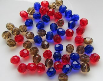 60 Mixed Cobal Blue Siam Red Dark Toapz  Czech Fire Polished Glass Beads 6mm