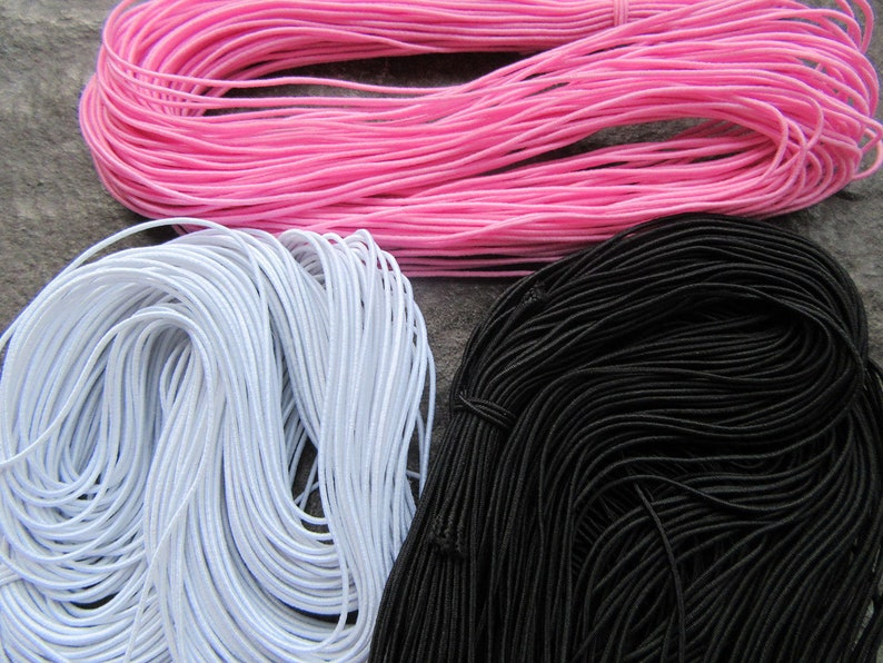 15m x1mm Dia Mixed Elastic Beading Cord Thread Thong Yellow Pink Black White