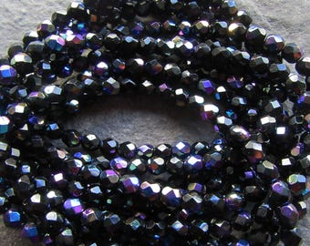 Jet Black AB Czech Fire Polished Glass Beads 6mm pack of 40