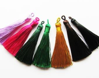7 x Long Colourful Mixed Silky Tassel Pendants Satin Silk Polyester 80-90mm Long pink red purple black green mustard
