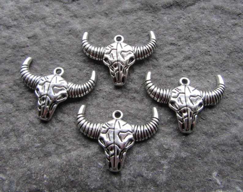 4 Antique Silver Ox Skull Pendants 36mm Metal Bull skull
