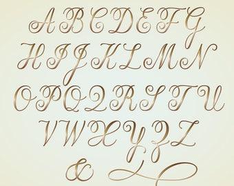 Clipart Alphabet Letters Monogram Gold Calligraphy Script Digital Download Vector Graphics