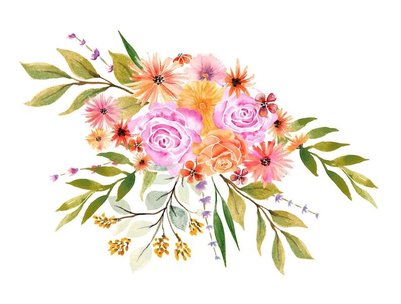 Watercolor Autumn Flowers Bouquet Watercolor Clipart Flower Etsy