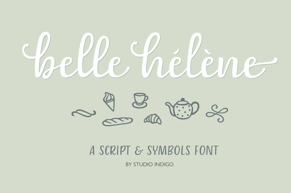 Script Font Calligraphy Font Symbols Font Wedding font Menu font Brush  Letters OTF TTF Web Font Curvy Script Belle Helene Modern Calligraphy