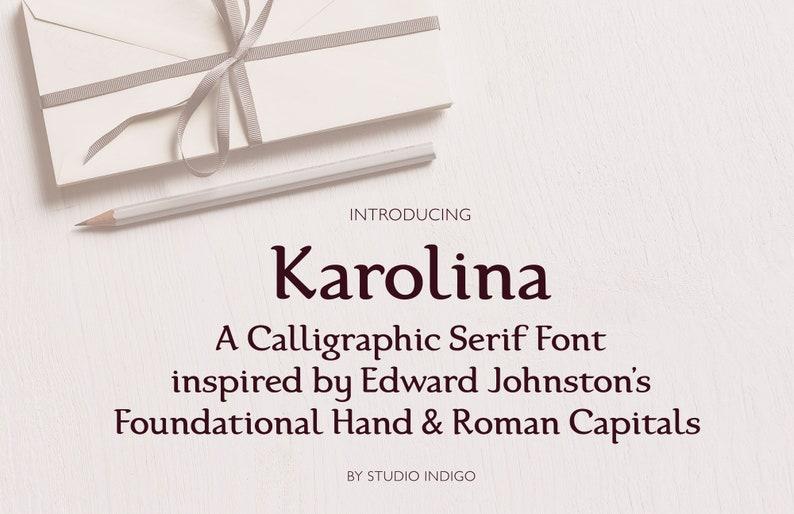 Calligraphic Serif Font Elegant Typeface OTF TTF Web font Foundational Hand  Karolina Classic Font Digital Download Multilingual Support
