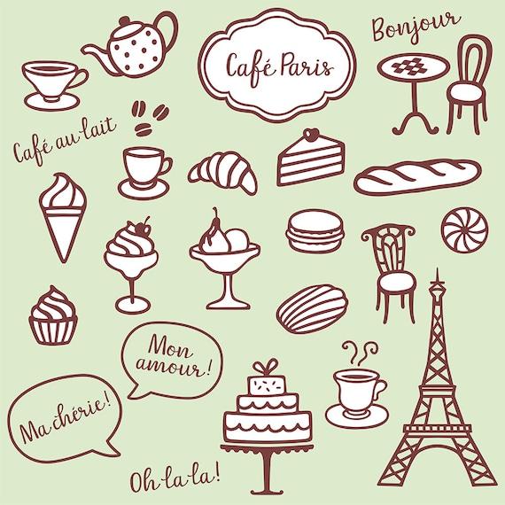 Sammlung Mit Sussen Kaffee Clipart Backerei Und Paris Symbole Etsy