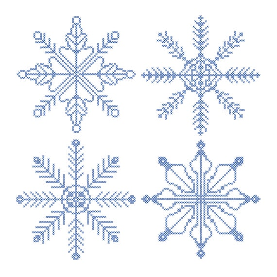 4 Digital Cross Stitch Snowflakes Pattern Christmas Embroidery Etsy