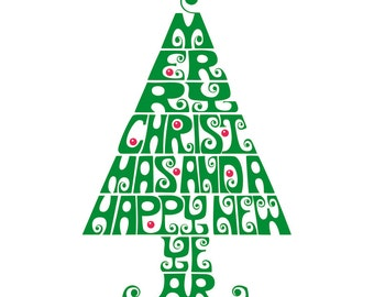 3 Typographic Digital Clipart Christmas Trees Vector Graphics Red Black and Green Instant Downloads