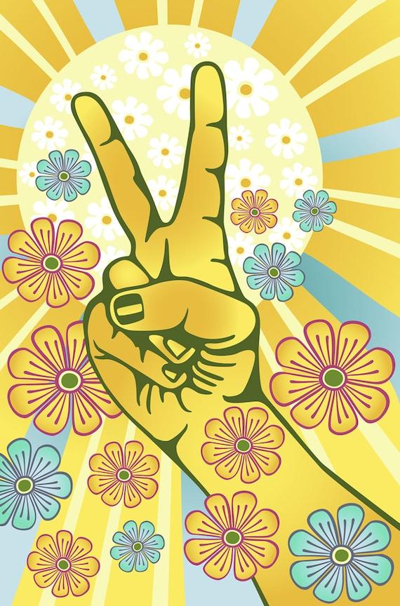 Flower Power Clipart Hand Gesturing Symbol Of Peace Digital Etsy