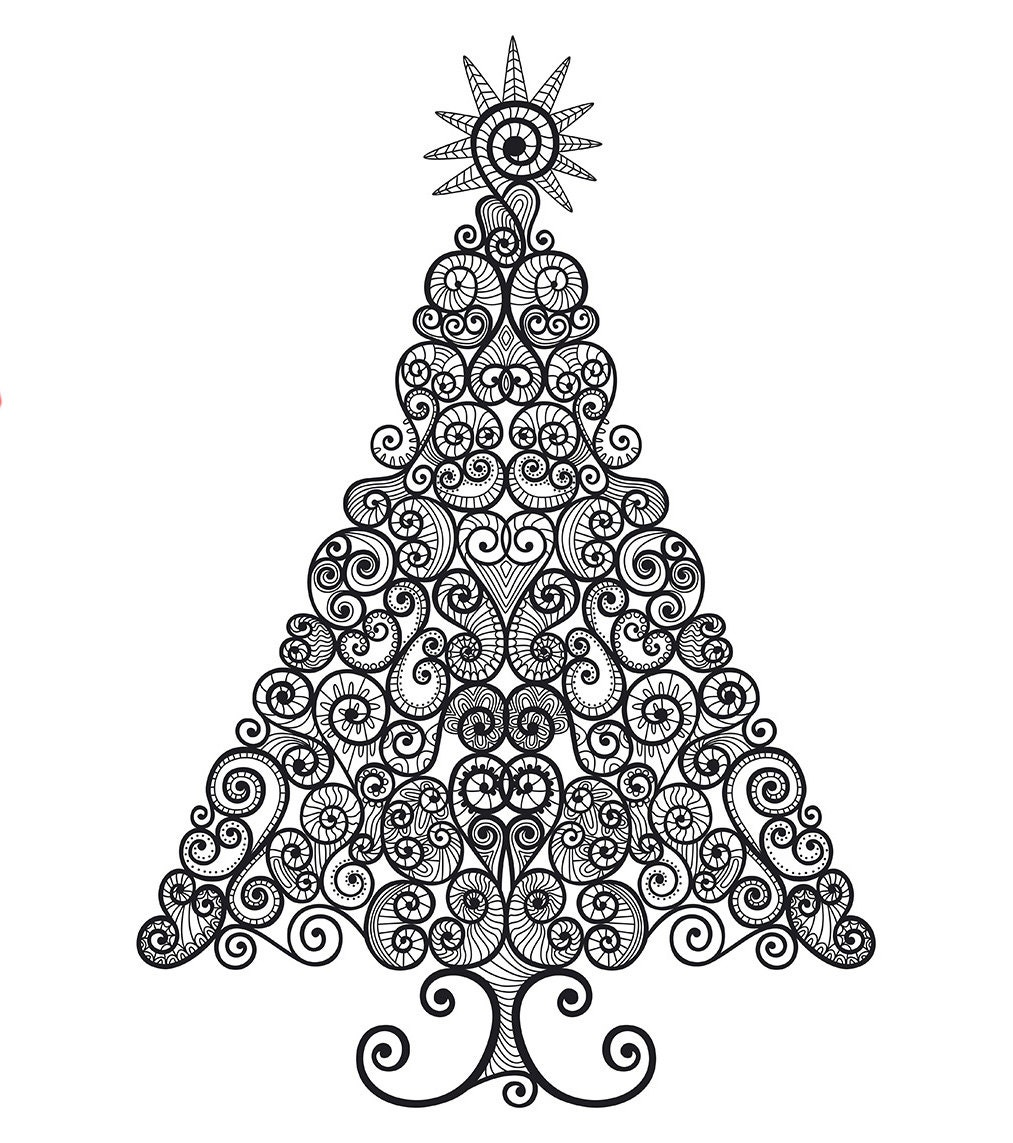 Instant Digital Download Vector Clipart Curly Christmas Tree | Etsy
