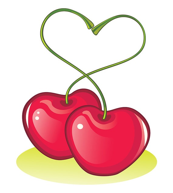 Digital Vector Graphics Valentines Day Symbol Love Cherries Etsy