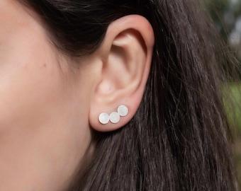 Circle Ear Climbers, Sterling Silver, Geometric Ear Crawlers, Minimal Earrings