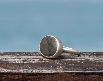 Grey Beach Pebble Sterling Silver Ring, Natural Beach Stone from Greece, One Of A Kind Ring, US 6.5, EU 53