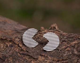 Striped Pacman Sterling Silver Earrings, Oxidised Three Quarter Circle