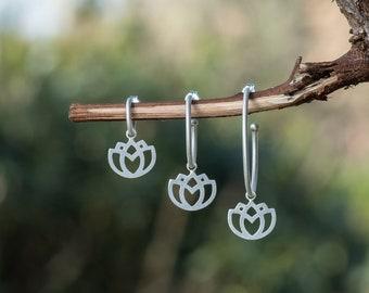 Silver Lotus Flower Hoops, Huggie Hoop Earrings with Charm
