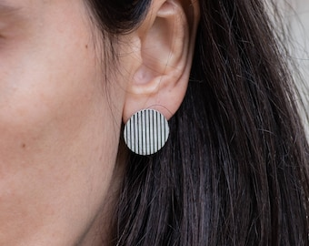 Big Striped Round Stud Earrings, Oxidised Circular Sterling Silver Studs, Vertical and Horizontal Stripes
