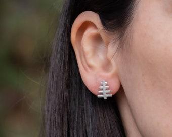 Christmas Tree Stud Earrings, Sterling Silver Tree Studs, Nature Jewelry, Xmas Gift, Modern Tree Earrings