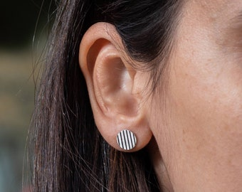 Small Striped Round Stud Earrings, Oxidised Circular Sterling Silver Studs