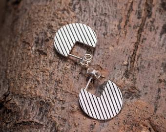 Three Quarter Circle Striped Hoop Earrings, Sterling Silver Oxidised 3/4 Circle Studs, Pacman Disc Earrings