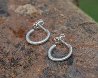 Small Sterling Silver Hoops, Huggie Gold Plated Hoop Earrings, 10mm