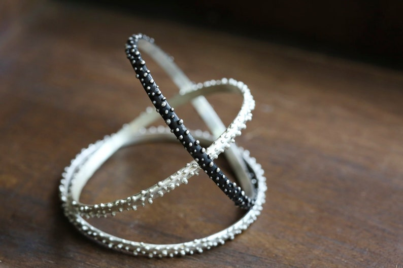 Bubble Sterling Silver Bracelet. Set Of Three