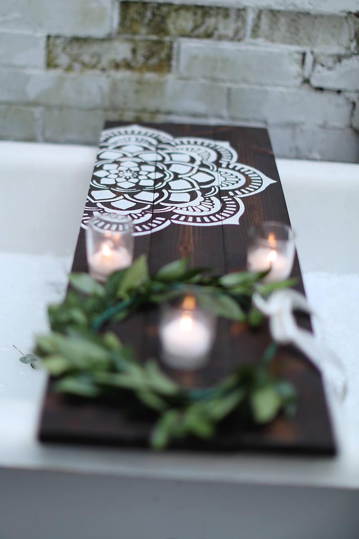 FLOWER MANDALA CADDY| Customized Bath Caddy | Bath Tub Tray | Tub ...