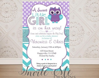 Owl baby shower invitation etsy purple turquoise polka dot baby owl baby shower invitation diy printing digital file filmwisefo