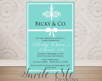 Tiffany blue invite etsy tiffany and co theme birthday sweet 16 quinceanera baby shower bridal shower invitation digital file diy printing filmwisefo