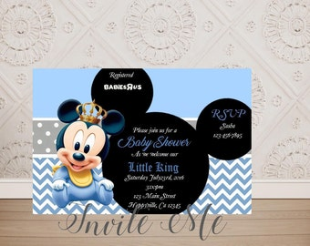 Mickey mouse baby shower invitations etsy baby mickey mouse baby shower invitation baby prince mickey mouse baby shower invitation baby mickey baby mickey mouse digital file filmwisefo