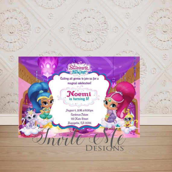 Shimmer And Shine Birthday Party Invitation Nickelodeon Etsy